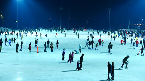 People iceskate in the Budapest City Park Footage