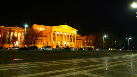 The Museum of Fine Arts in Budapest at night Footage