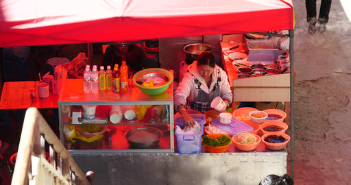 4k Woman salad of fresh vegetables,roadside snack bar cooking Footage