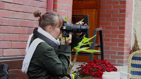 Woman Taking Pictures With Professional Digital Ca stock footage