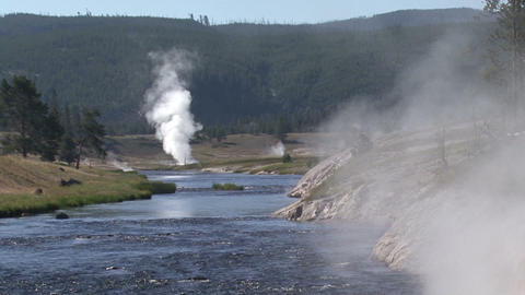 Yellowstone National Park. Geyser Footage