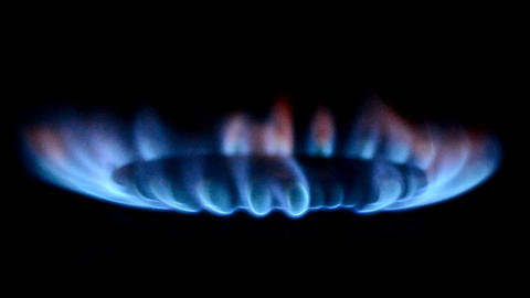 Gas Burners In The Kitchen Oven stock footage