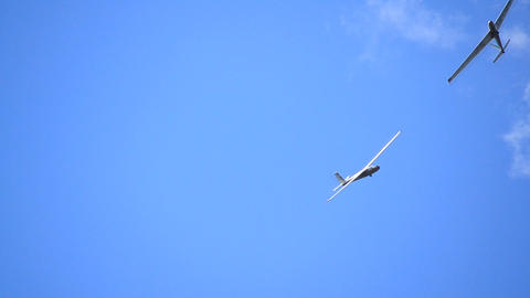 Glider Isolated Against Blue Sky stock footage