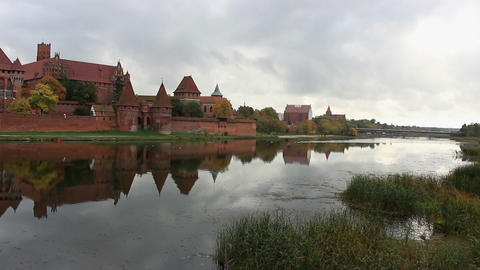 View Of The Malbork Castle From The Other Side Of stock footage