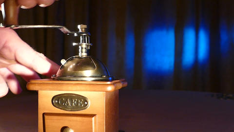 The Grinder On A Blue Background With Candles stock footage