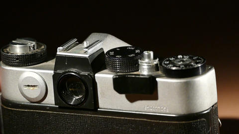 Oldd SLR camera rear view (loading and release) Footage