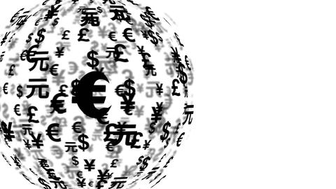currency symbols globe rotating 11600 CG動画素材