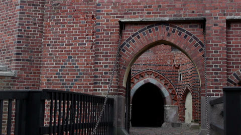 Vertical Pan Of The Gateway To The Castle 4 stock footage