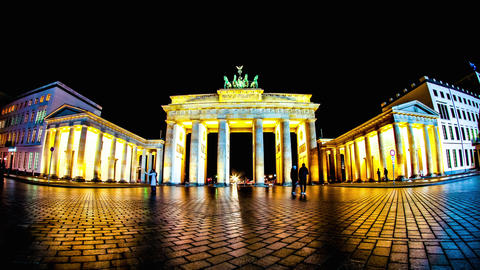 The Brandenburger Gate in Berlin at night Footage