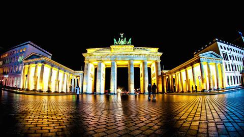 The Brandenburger Gate in Berlin at night Footage