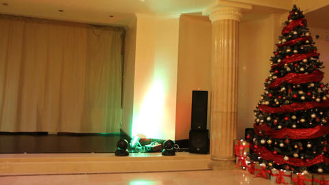 Christmas And New Year Party (tree And Stage) stock footage