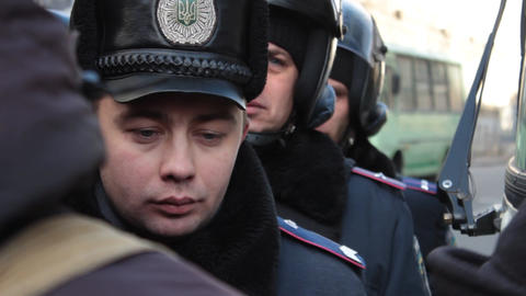 Революция в Украине - Кадры с милицией Footage