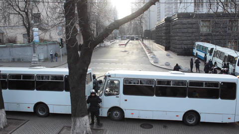 The Police preparing the streets for the forthcoming strike (fences by buses) Footage