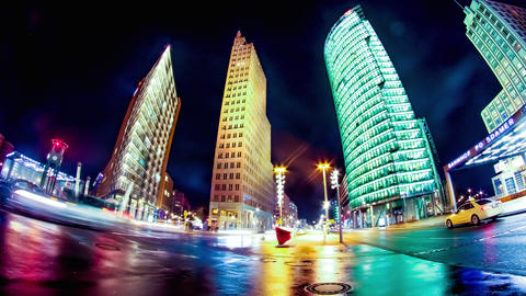 Traffic pass by on the Potsdamer Platz in Berlin Footage