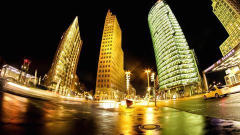 Traffic pass by on the Potsdamer Platz in Berlin Footage
