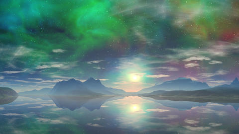 Colorful sunrise over the fabulous lake Animation