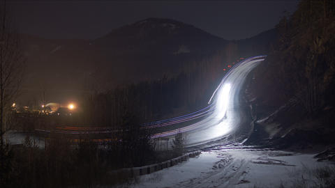 Night Mountain Road Timelapse 4K stock footage