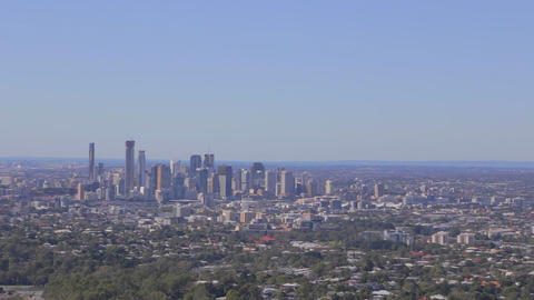 2 angles - Brisbane - Aerial Pan Of The Skyline an Footage