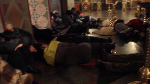 Riots in Ukraine - The strikers taking rest in church Footage