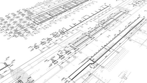 29 97fps Construction Drawings Perspective 1 White stock footage