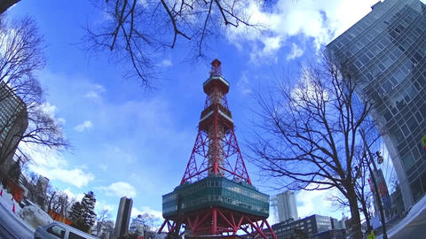 Japan Hokkaidou Sapporocity TV Tower 10 stock footage