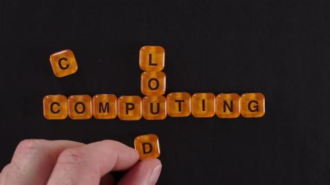 Letter Blocks Spell Cloud Computing Footage