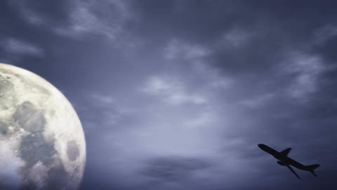 Full Moon and Airplane at Night 3 D Animation 1 Stock Video Footage