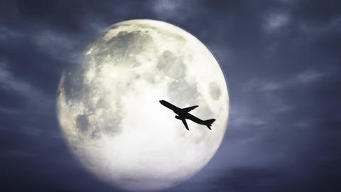 Full Moon And Airplane At Night 3 D Animation 1 stock footage