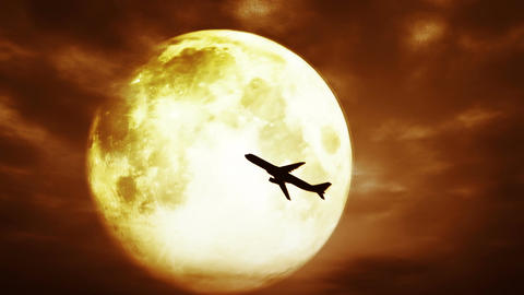 Full Moon and Airplane at Night 3 D Animation 2 su Animation