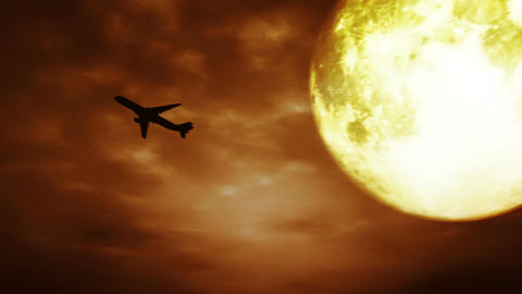 Full Moon and Airplane at Night 3 D Animation 2 su Stock Video Footage