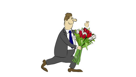 Cartoon Businessman Brings A Bouquet Of Tulip stock footage
