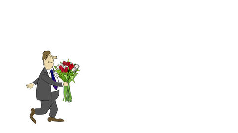 Cartoon Businessman Brings A Bouquet Of Tulips stock footage