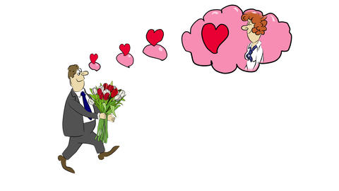 Cartoon businessman Fred brings a bouquet of tulip Animation