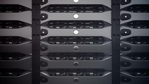 Closeup on data servers. LED lights are flashing Animation