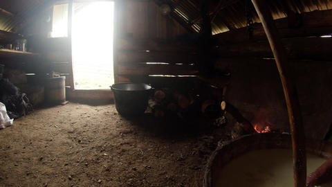 panorama in a wooden hut in the mountains sheep he Footage