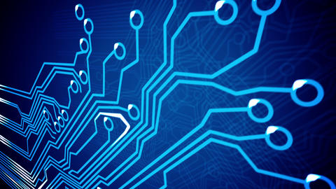 Closeup of Abstract Circuit Board Animation