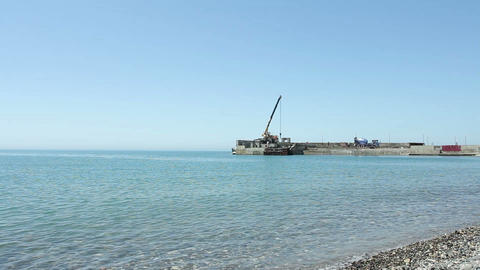 Building Site On The Sea stock footage