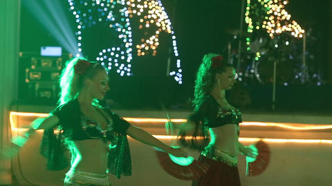 female dancers dancing in spanish costume at india Footage