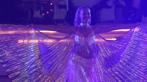 blonde girl dances belly dance Footage