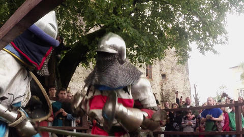 reporting from the festival of medieval culture, knights in armor Footage