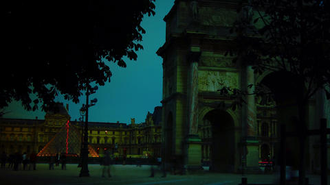 Tourists Are Walking Near The Arc De Triomphe Du C stock footage