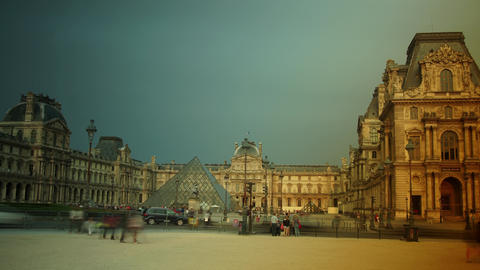 Tourists walk in front of the Louvre in Paris, Fra Footage