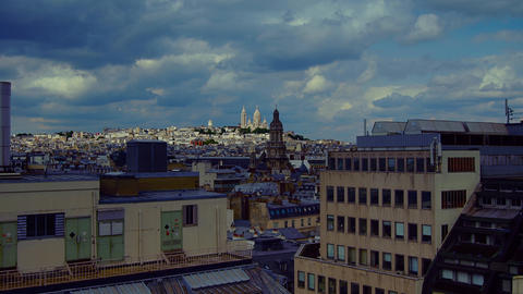 Scenes of daily Paris, panoramic view from the top Footage