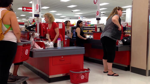 One side of check out counter inside Target store Footage