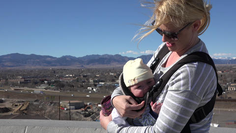 Baby Carrier on Windy Day Footage
