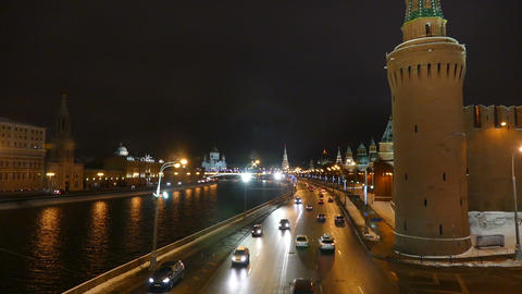 Moscow Kremlin at night in winter and street machi Footage