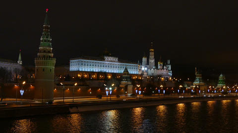 Moscow Kremlin and the river at night in winter Footage