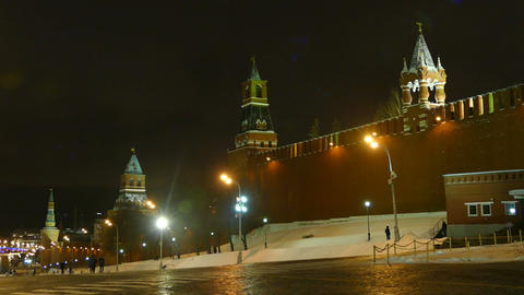 Kremlin wall and four towers at night in winter Footage