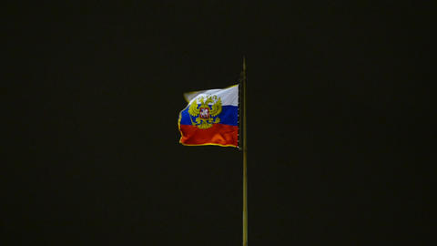 Russian State Flag With The Emblem stock footage