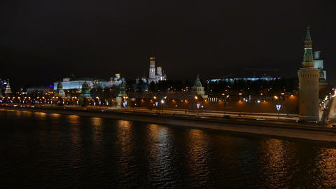 Moscow Kremlin And The River At Night In Winter stock footage